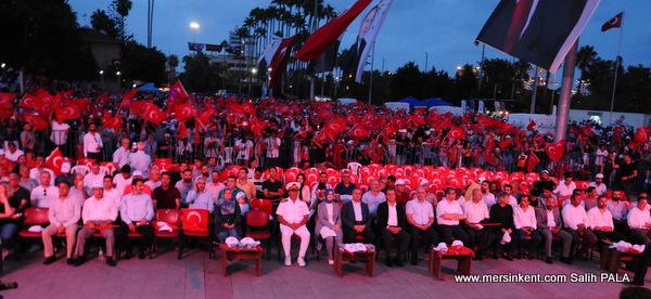 Mersin'de 15 Temmuz Demokrasi ve Milli Birlik Günü'nde Yürüyüş ve Mitingi Düzenlendi.